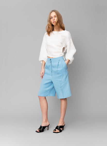 Ruched Linen Blouse