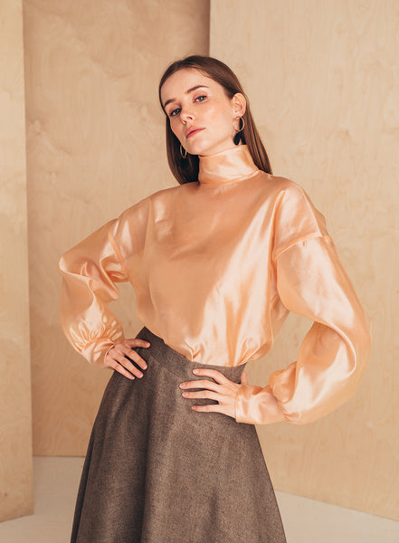 Silk-Organza Blouse With High Neck Blush