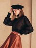 Silk-Organza Blouse With High Neck Black