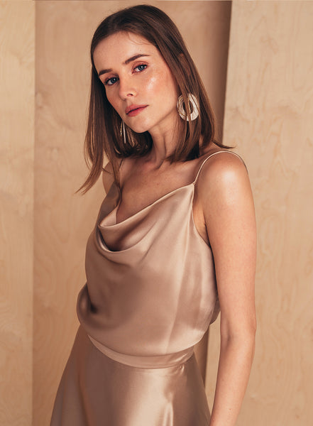 Camisole Top with Draped Detail Tan