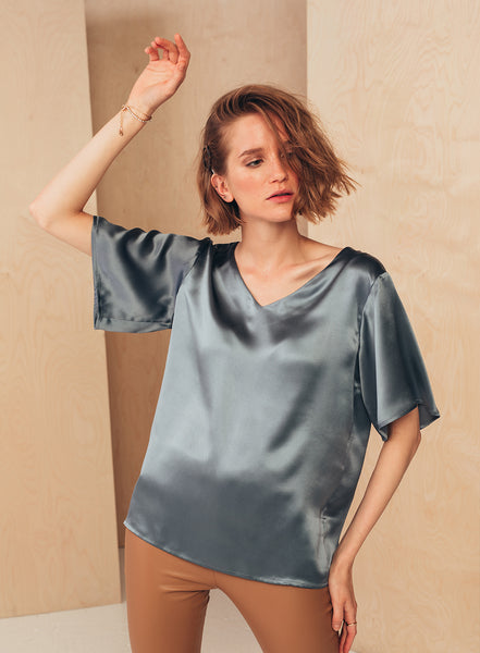 V-Neck Blouse Dove Grey