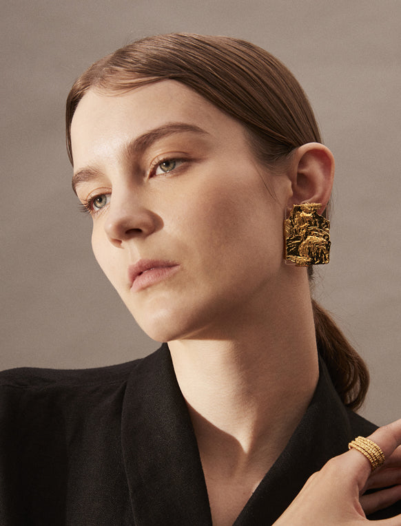 Artistic Textured Gold Earrings