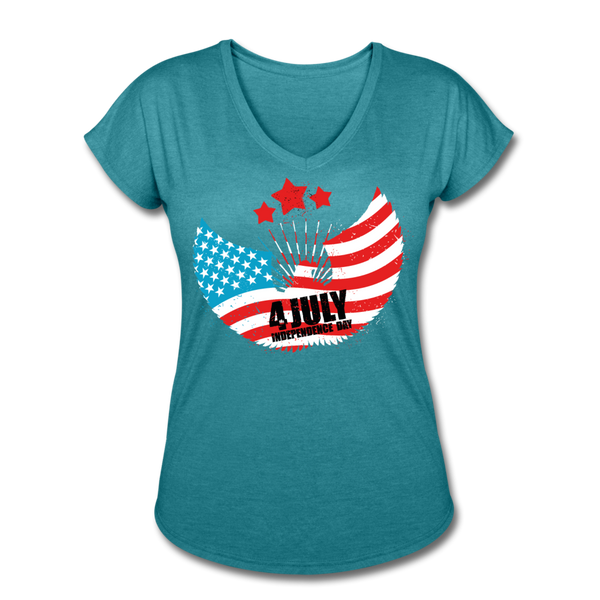 American Pride 4th of July Custom Inked T-Shirt - heather turquoise