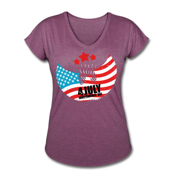 American Pride 4th of July Custom Inked T-Shirt - heather plum