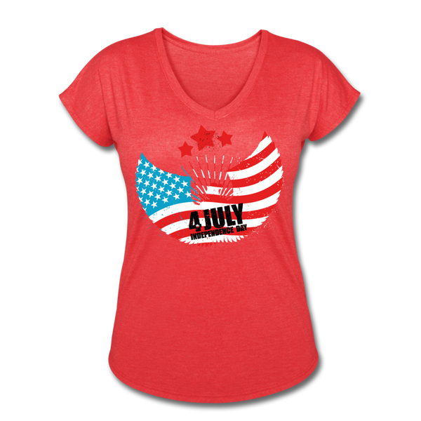 American Pride 4th of July Custom Inked T-Shirt - heather red