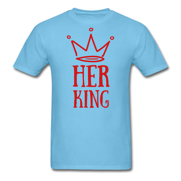 Custom T-Shirts Her King - aquatic blue