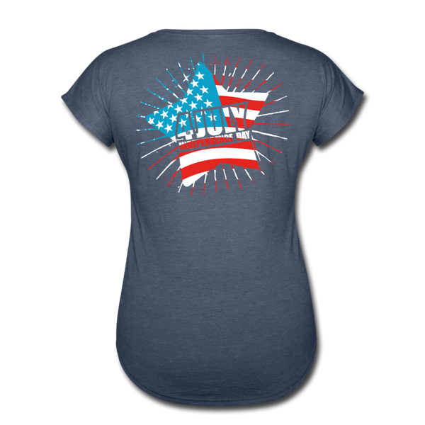American Pride 4th of July Custom Inked T-Shirt - navy heather