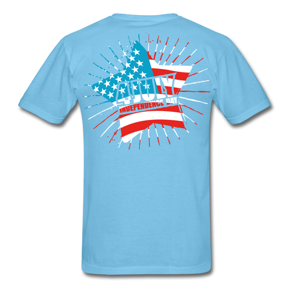4th of July Independence Day Celebration Custom T-Shirts - aquatic blue