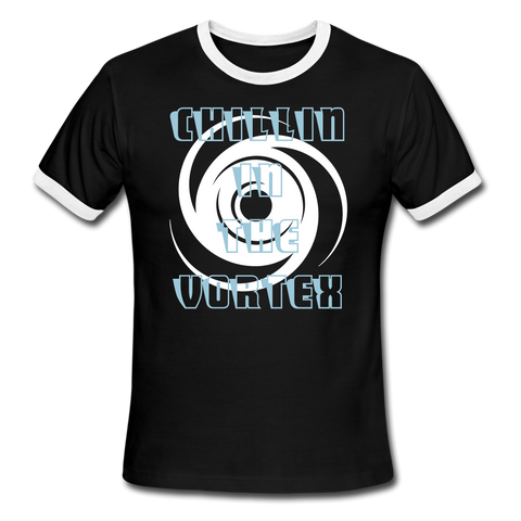 Men's Ringer T-Shirt Chillin In The Vortex Custom Classic - black/white
