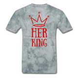 Custom T-Shirts Her King - grey tie dye