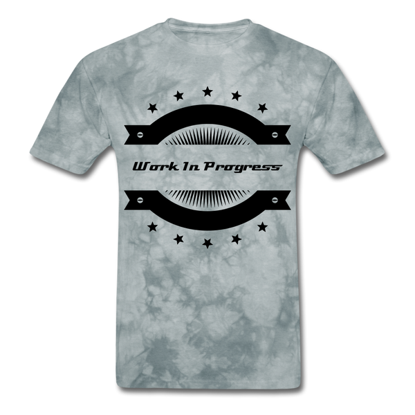 Work In Progress, I Am Men's Custom T-Shirt - grey tie dye