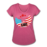 American Pride 4th of July Custom Inked T-Shirt - heather raspberry