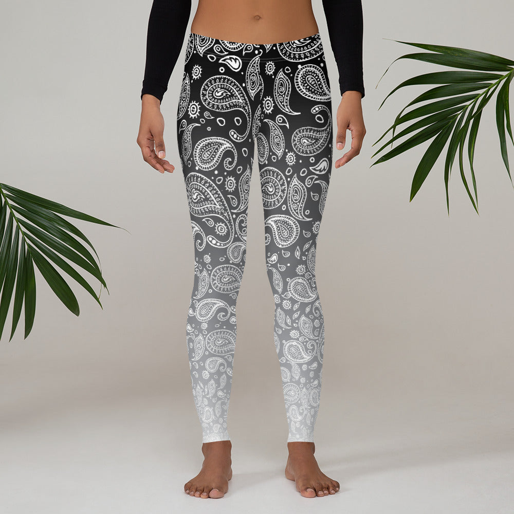 Cookies n Cream Hazy Paisley Women's Custom Leggings