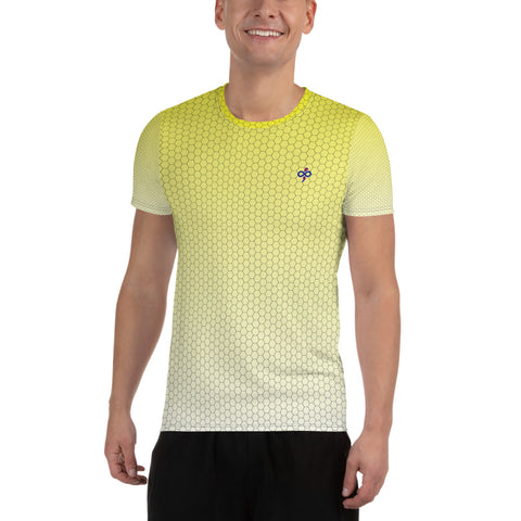 Sweet Lemonade Yellow Honeycomb Fade 2nd Skin Men's Custom Athletic T-shirt