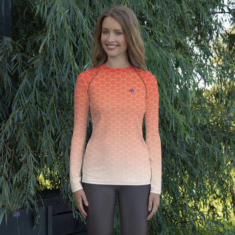 Sunburst Red Honeycomb Haze Soft Breathable Women's Custom Designed Rash Guard