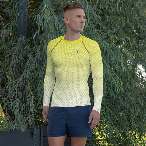 Sweet Lemonade Yellow Honeycomb Fade 2nd Skin Men's Rash Guard Custom Shirts