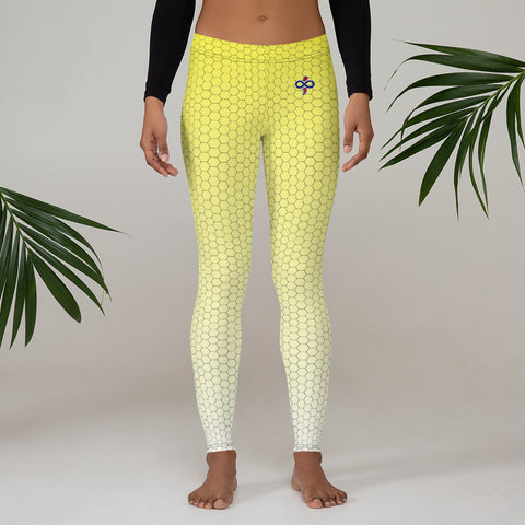 Lemonade Yellow Honeycomb Fade 2nd Skin Women's Custom Leggings