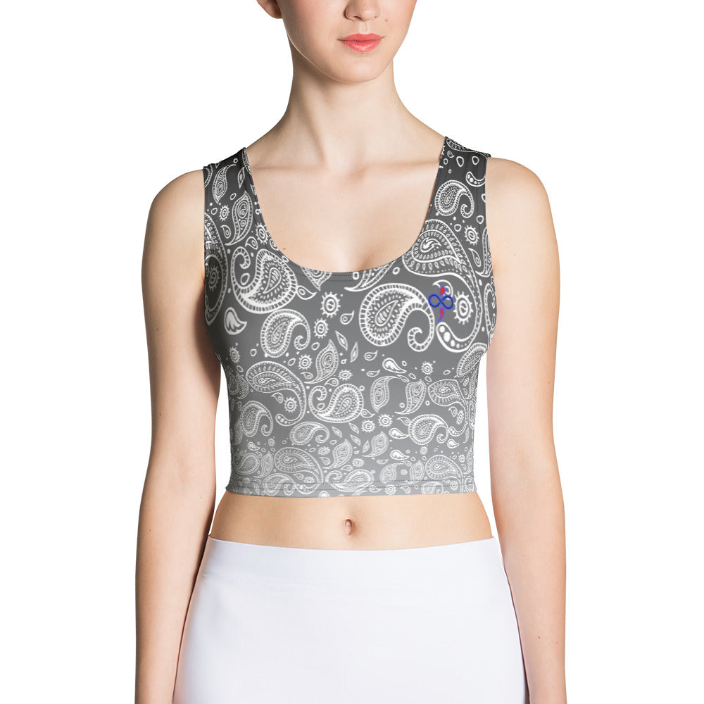Cookies n Cream Hazy Paisley Women's Custom Crop Top