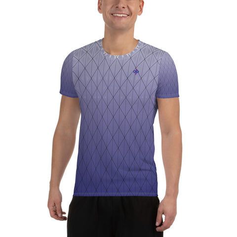 3D Purple Diamond Print 2nd Skin Men's Custom Athletic T-shirt