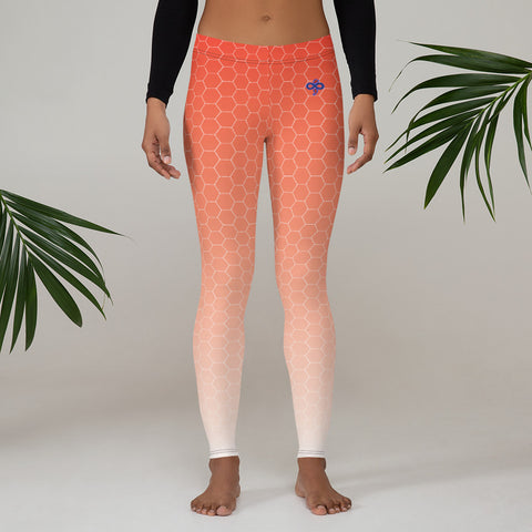 Sunburst Red Silver Honeycomb Soft and Breathable Women's Custom Leggings