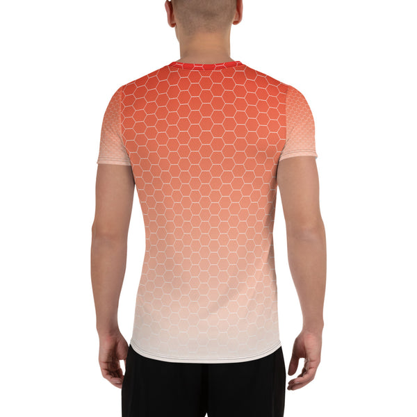 Sunburst Red Honeycomb Haze Print Soft and Breathable Men's Athletic T-shirt