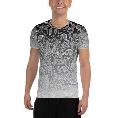 Cookies n Cream Hazy Paisley Print 2nd Skin Men's Athletic Custom T-shirt