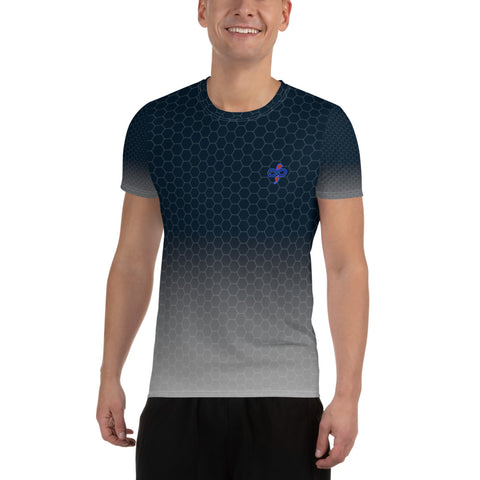 Second Skin Deep Navy Silver Honeycomb Men's Athletic T-shirt
