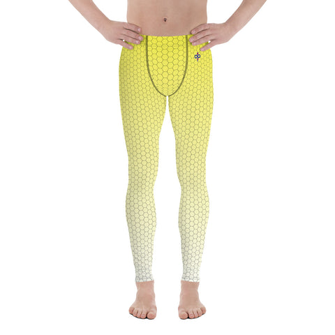 Sweet Lemonade Yellow Honeycomb Fade 2nd Skin Men's Custom Leggings