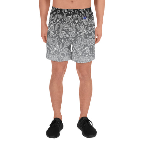 Cookies n Cream Hazy Paisley Men's Athletic Custom Long Shorts