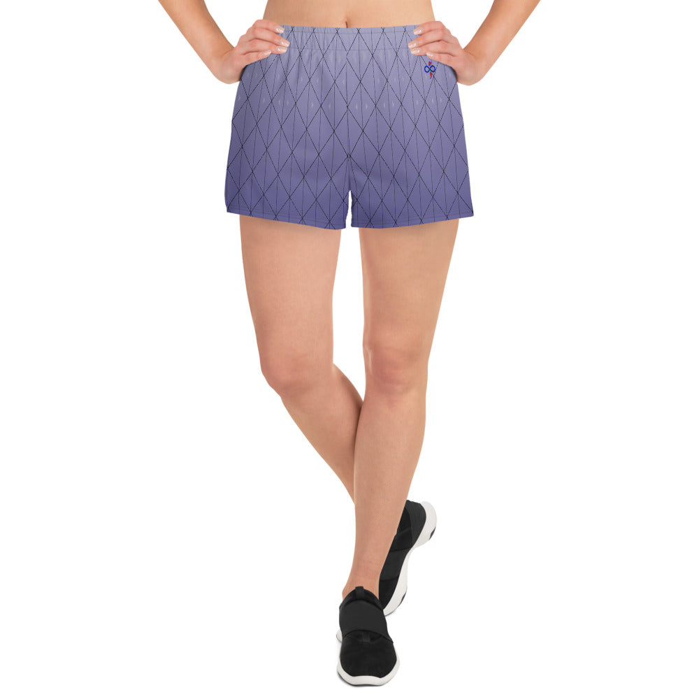 3D Purple Diamond Women's Athletic Custom Designed Short Shorts
