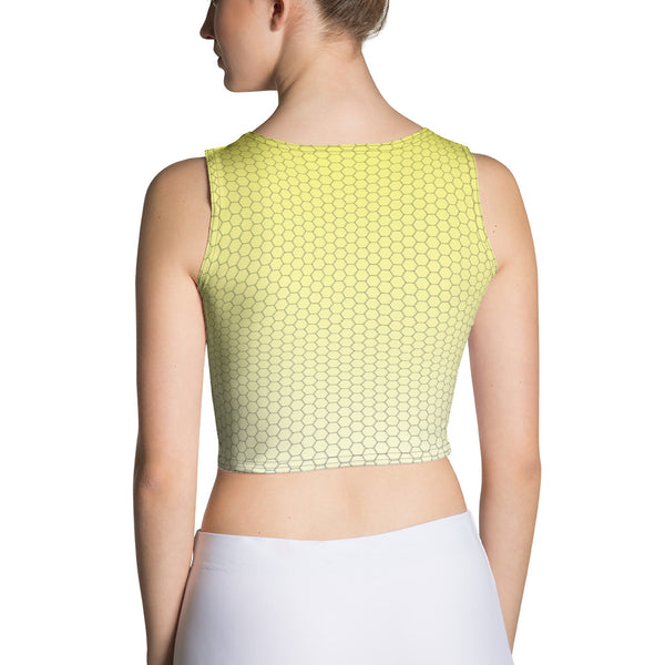 Lemonade Yellow Honeycomb Fade 2nd Skin Women's Custom Crop Top