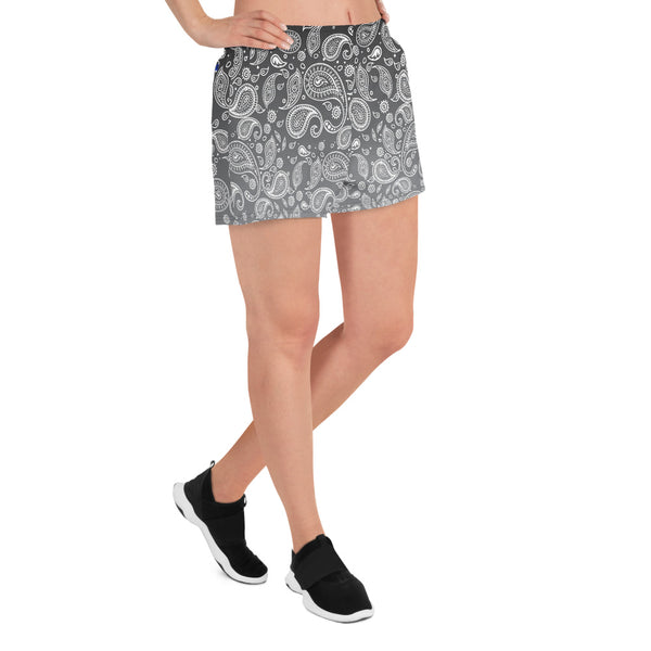 Cookies n Cream Hazy Paisley Women's Athletic Custom Short Shorts with Pockets