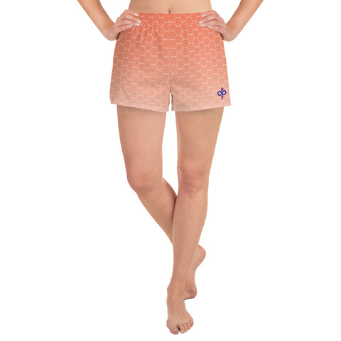 Sun Burst Honeycomb Print Women's Athletic Custom Short Shorts