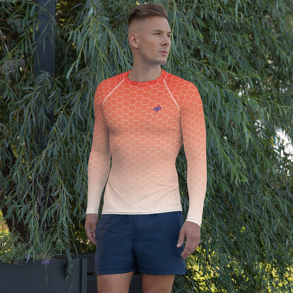 Sunburst Red Honeycomb Fade Soft Breathable Men's Custom Designed Rash Guard Shirt