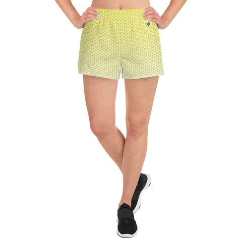 Sweet Lemonade Yellow Honeycomb Haze Women's Custom Athletic Short Shorts
