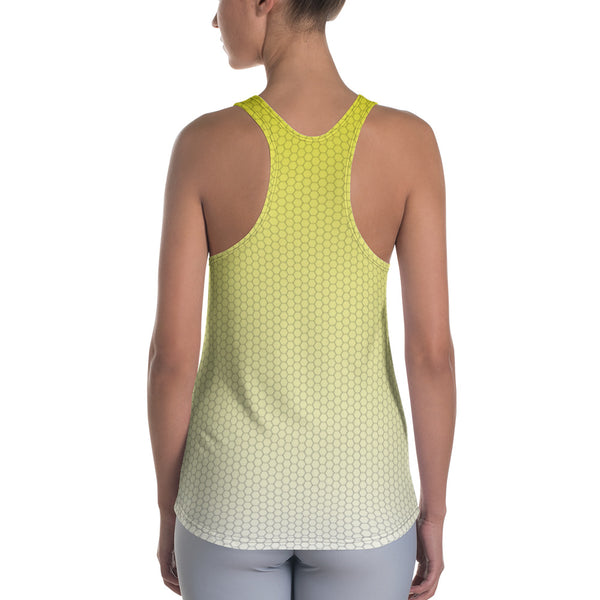 Sweet Lemonade Yellow Honeycomb Fade Women's Racerback Custom Tank