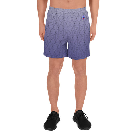 3D Purple Diamond Custom Design Men's Athletic Custom Long Shorts
