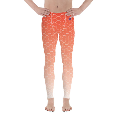 Sunburst Red Honeycomb Haze Soft Breathable Men's Custom Leggings