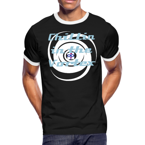 Chillin in the Vortex Living LFD & Loving It Black Ringer Tshirt - black/white