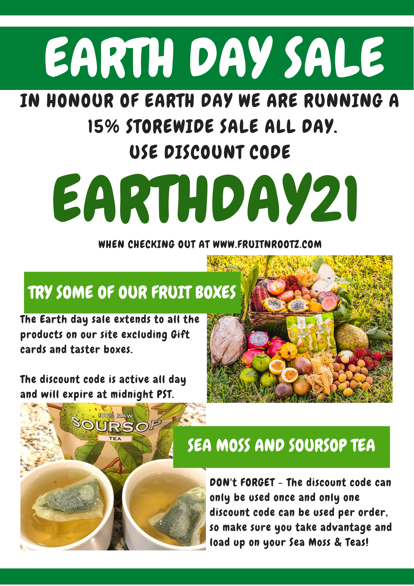 Fruits N Rootz Earth Day 2021 Store Wide Flash Sale