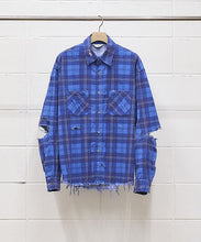 "Load image into Gallery viewer, UNUSED ""US1692 DAMAGE CHECK NEL SHIRT"" col.BLUE"