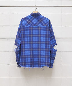 "UNUSED ""US1692 DAMAGE CHECK NEL SHIRT"" col.BLUE"