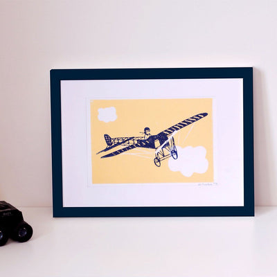 ILLUSTRATION AVION - LINOGRAVURE A5