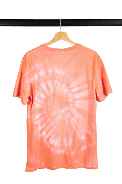 T-SHIRT TIE AND DYE SPIRALE CORAIL - market place éthique & eco responsable Jours à Venir