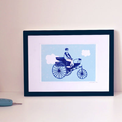 ILLUSTRATION TRICYCLE - LINOGRAVURE A5