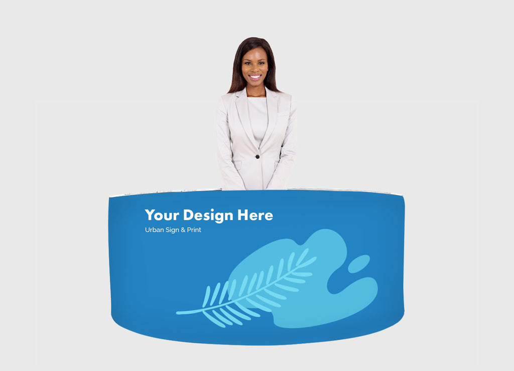 San Diego EZ Fabric Counter Display, Curved Triple - Urban Sign and Print