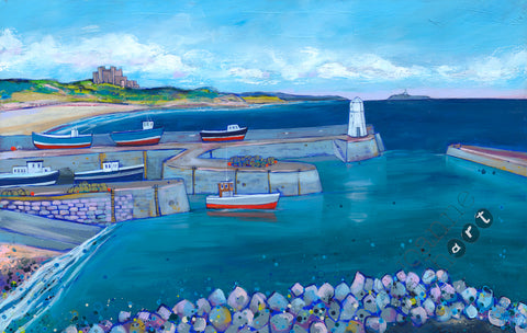 Northumberland Beach Painting, Local North East Art featuring Bamburgh Castle and Seahouses Harbour