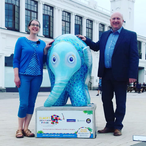 BBC Weather Paul Mooney and artist Joanne Wishart with elephant on the Great North Elmer Parade outside the Whitley Bay Dome