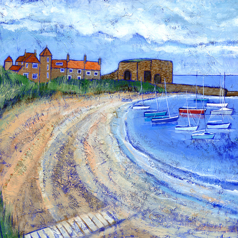 Beadnell Beach Northumberland picture painting print joanne wishart north east gallery