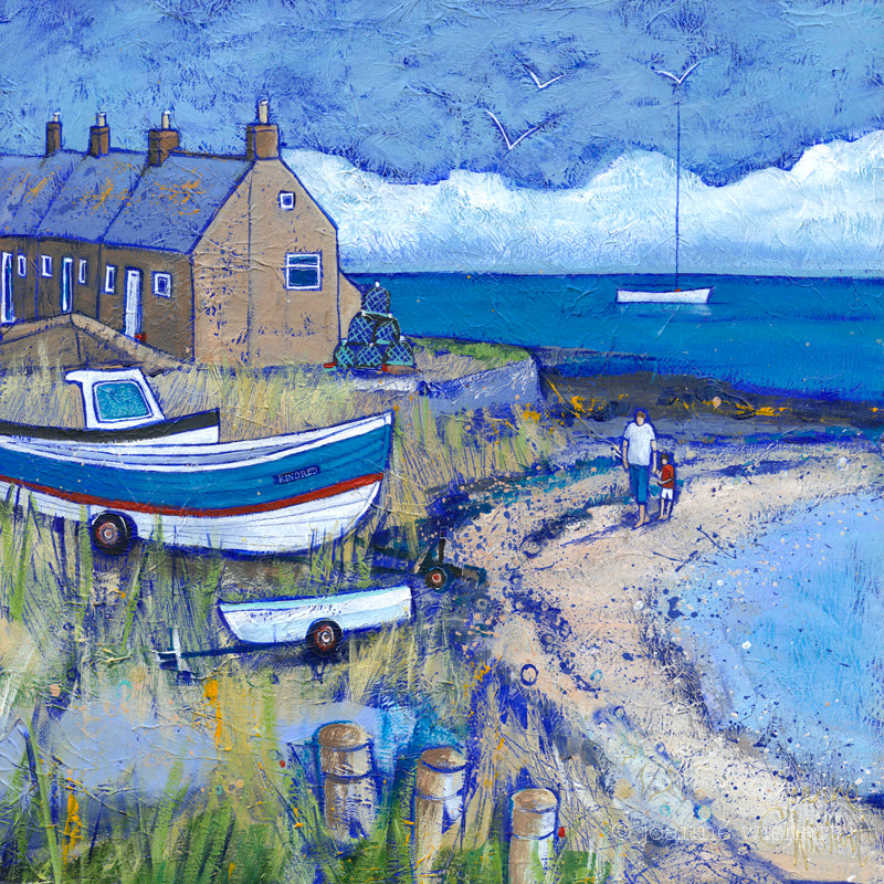 Boulmer beach northumberland picture painting print joannewishart north east gallery